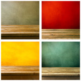 Set of grunge backgrounds with wooden deck tabletop poster