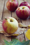 Fresh red apples with autumn leaves on wooden tabletop poster