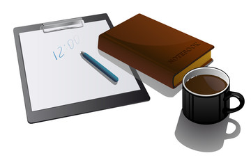 Blank clipboard with cup and notebook.