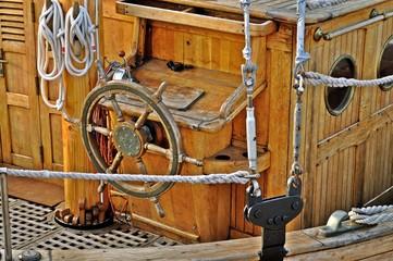 Classic wooden yacht deck