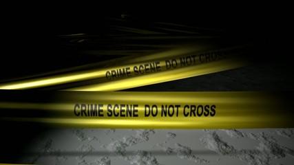Concept animation, police crime scene tape.
