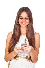 Young Woman Looking at Her Mobile Phone