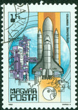 stamp printed in Hungary showing space shuttle Columbia