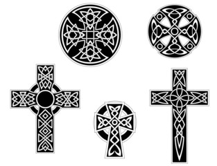 Set of vintage celtic crosses