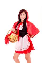 Little Red Riding Hood holding an apple basket