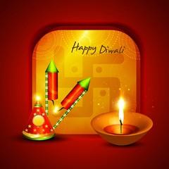 Happy diwali crackers hindu festival bright colorful vector
