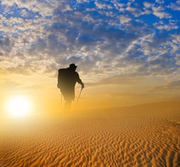 hiker in a desert