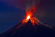 canvas print picture - Long exposure, Tungurahua volcano with blue skyes