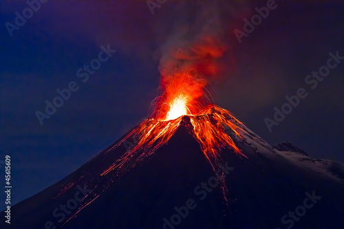 canvas print picture Long exposure, Tungurahua volcano with blue skyes