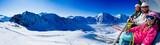 Fototapety Skiing - happy skiers on ski lift