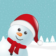 snowman with scarf and santa claus hat blue background