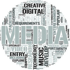 Media Studies And Entertainment Technology Word Cloud Concept