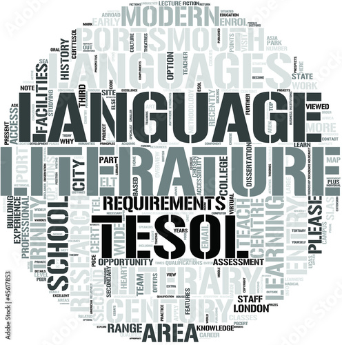 TESOL with English Literature Word Cloud Concept