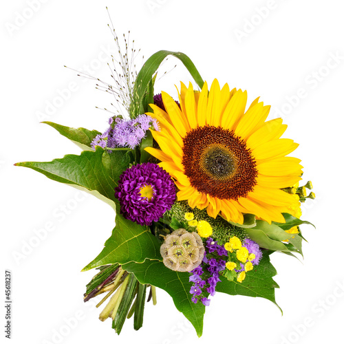 Foto op Aluminium Zonnebloem Blumenstrauß mit Sonnenblume
