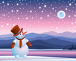Snowman looking at the moon