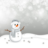 Fototapety Vector Illustration of a Small Snowman in a Winter Landscape