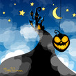 Vector Illustration of a Halloween Background with Castle