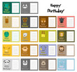 set of animal birthday card