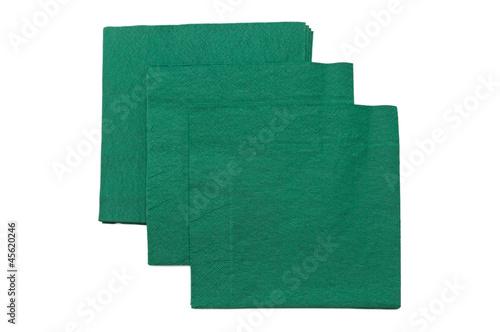 green napkins isolated on white background