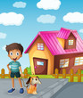 boy, dog and house