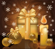 Christmas golden greeting card, vector illustration