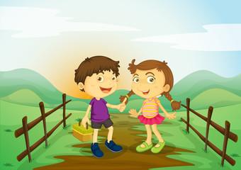 kids and landcape