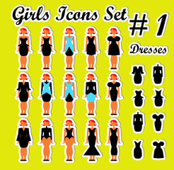 Girls Woman Icons Set 1 dress and people