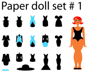 Paper doll set girl and dresses and hat 1