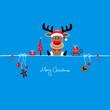 Sitting Christmas Reindeer & Symbols Iceblue