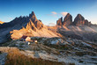 Dolomites mountain panorama in Italy at sunset - Tre Cime