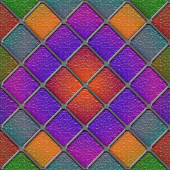 Seamless Diagonal stained glass panel