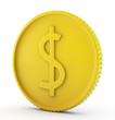 gold dollar coin isolated