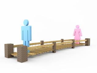 Два человека на узком мосту