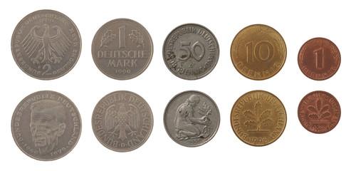 Deutsche Mark Coins Isolated on White