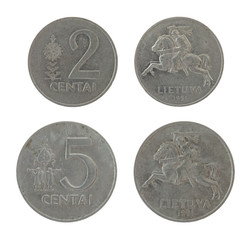 Lithuanian Coins Isolated on White