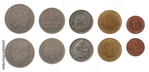 Deutsche Mark Coins Isolated on White