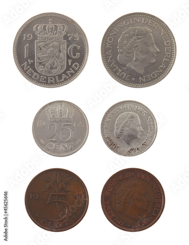 Old Dutch Coins Isolated on White