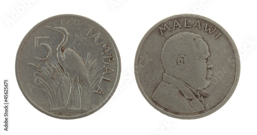 Malawian Coin Isolated on White