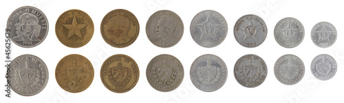 Cuban Coins Isolated on White