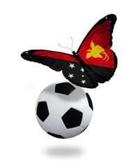 Concept - butterfly with  Papua New Guinea flag flying near the