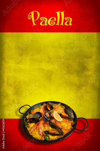 Spanish flag with paella