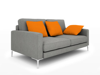 Modern grey sofa with orange pillows isolated on white backgroun