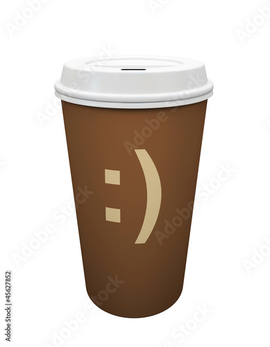 Paper cup of coffee isolated on white background illustration