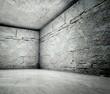 3d corner, concrete brick interior