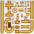 Golden Pipeline Parts: pipe, faucet, valve, shaft, wheel