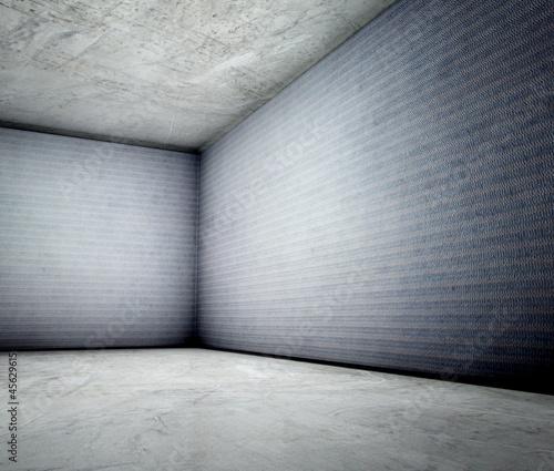 3d corner of old grunge concrete interior