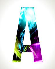 Vector design light effect alphabet. Letter  A.