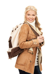 woman in sheepskin jacket