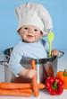 Baby Puppe mit Kochmütze