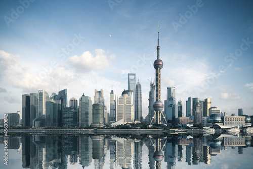 Poster shanghai skyline with reflection